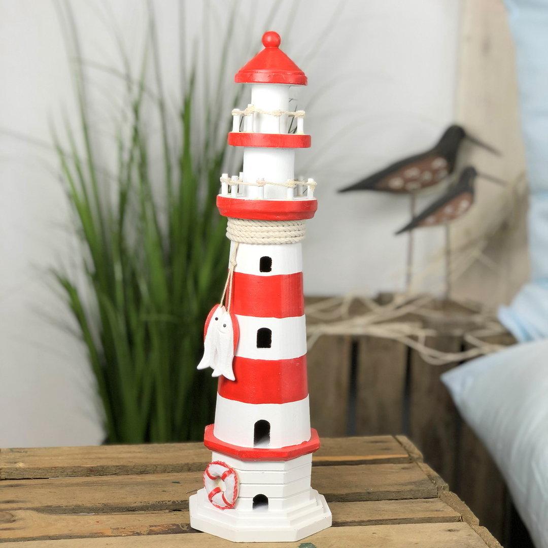 deko leuchtturm rot wei gestreift 40 cm www nautic