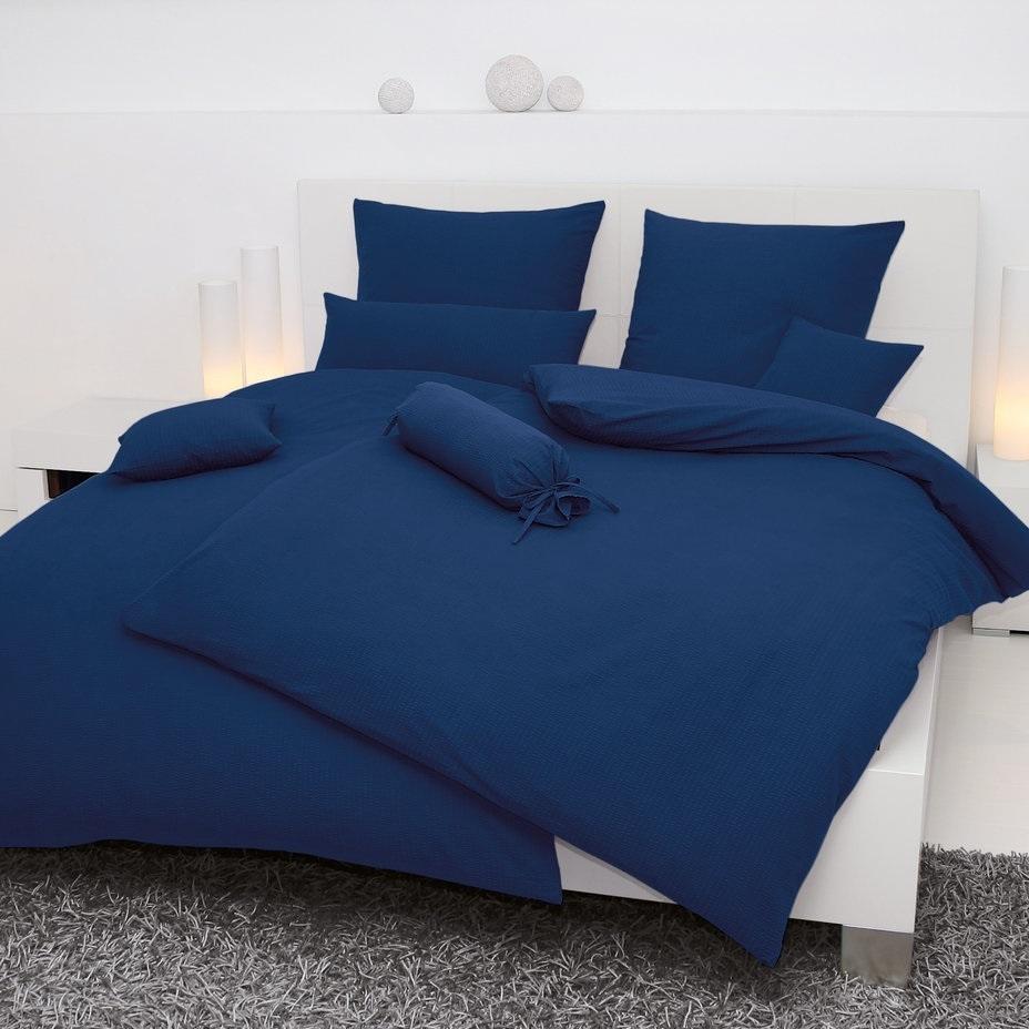 janine seersucker bettw sche in marineblau jetzt auf. Black Bedroom Furniture Sets. Home Design Ideas