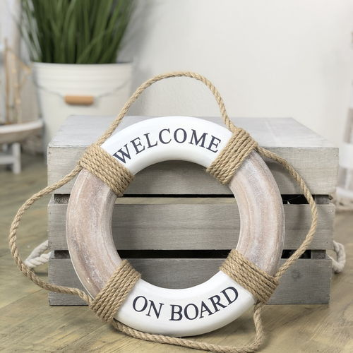 Holz-Rettungsring Welcome on Board 30 cm